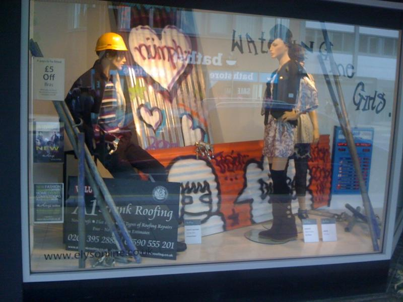 A1 Strank Roofing, Elys of Wimbledon main window display.